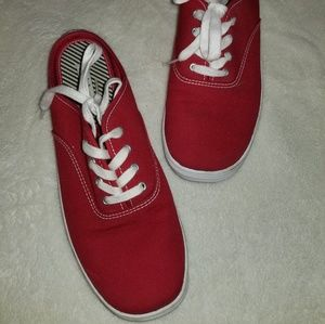 Keds red canvas mule